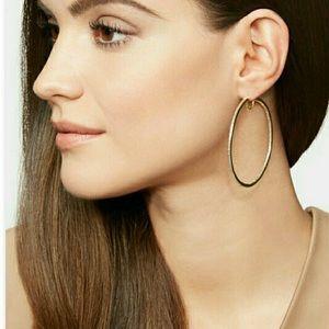 Henri Bendel Rose Gold Pave Hoop Earrings